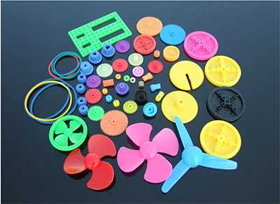 colorful DIY 55 kinds of color gear package propeller main shaft crown tooth belt pulley plastic gear